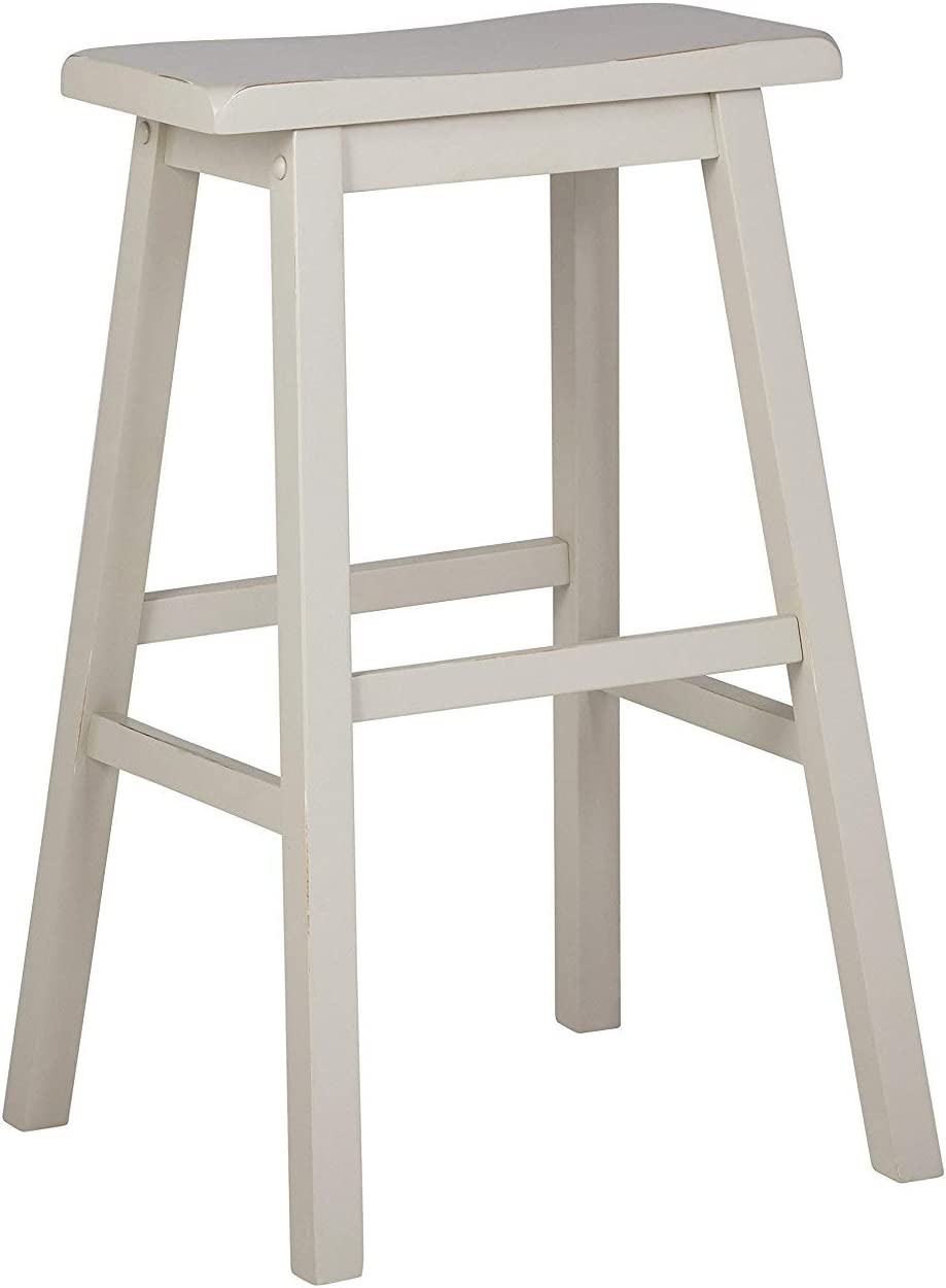 Stone Beam Cottage Wood Saddle Kitchen Bar Counter Stool, 24 Inch Height, Creme White