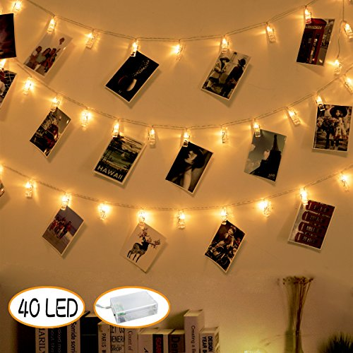 40 LED Photo Peg Clips String Lights - Picture Lights Christmas Decorations Battery Powered Wedding Party Dorm Room Decor for Hanging Pictures, Cards and Memos (Warm White)