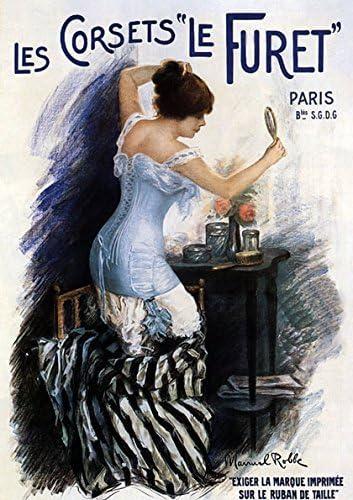 Lady Les Corsets Le Furet Paris France French 16X20 Vintage Poster Repro FREE SH