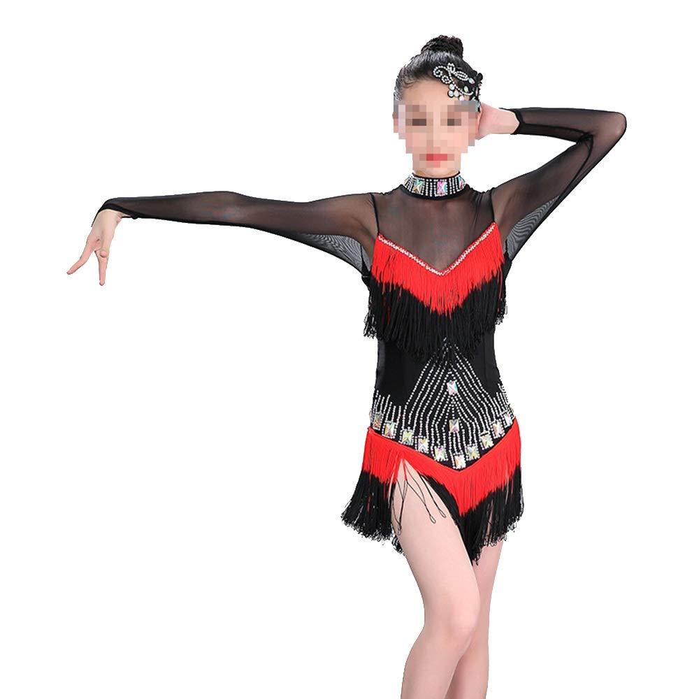 Rouge 150cm YuFLangel Robes de soirée pour Fille Robe de Danse Samba Latine pour Filles Robe de Demoiselle (Couleur   Rouge, Taille   160cm)