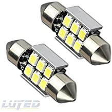 LUYED 2 X Super Bright 2835 6-EX Chipsets Error Free 1.25 inches DE3175 DE3021 DE3022 3175 LED Bulbs Used For Dome light,Xenon White