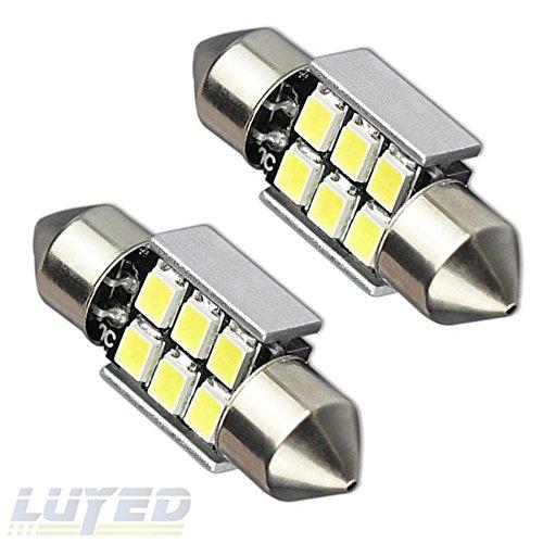 LUYED 2 X Super Bright 2835 6-EX Chipsets Error Free 1.25 inches DE3175 DE3021 DE3022 3175 LED Bulbs Used For Dome light,Xenon White - Honda Crx Clear Corner