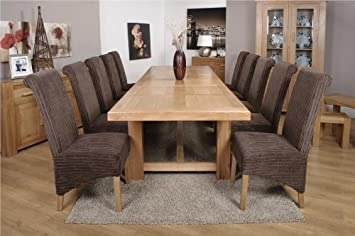 monaco chunky solid oak furniture extra large dining table ten krista chairs. Interior Design Ideas. Home Design Ideas