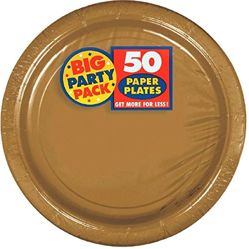 Amscan 640013.19 Tableware, Big Party Pack Paper, Gold Plates, One Size