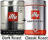 illy Classico Ground Espresso, Medium Roast, 100% Arabica Coffee Blend (Variety 6 Pack)
