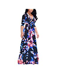 Women 3/4 Sleeve Digital Printing Self-tie Plus Size Surplice Swing Maxi Dress