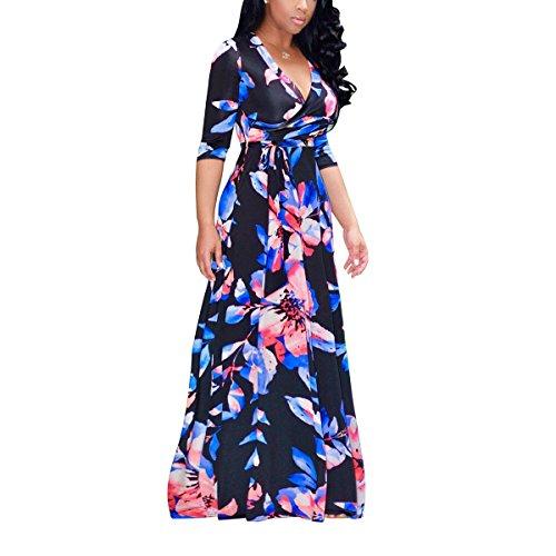 Akmipoem Womens Floral Print Self-tie Surplice Swing Maxi Bohemian Dress