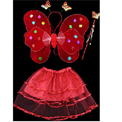 [KAKA(TM) Angel Butterfly Fairy 4-pcs Set Children Cosplay Performance Show Costume Props - Red] (Storm Costume Cosplay)