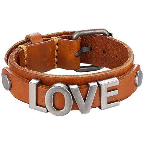 Metallic Love Strap Leather Cuff Bracelet, Ajustable, Belt Style, Brown,...