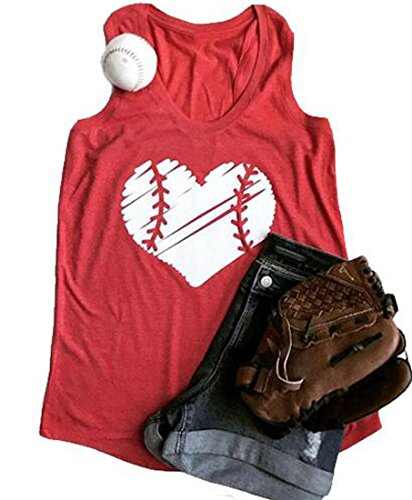 (Baseball Mom Heart Print Funny Tank Tops Women's Casual Vest T-Shirt Blouse Tee Size S (Red))