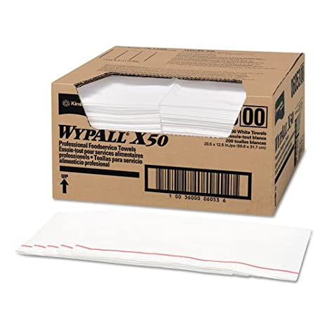 Amazon.com : KIMBERLY CLARK CONSUMER 6053 WYPALL X50 Wipers, 23 1/2 x 12 1/2, White, 200/Carton : Household Supplies : Office Products