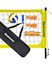 Hemousy Volleyball Net,Portable Volleyball Training Equipment Include Volleyball,Outdoor Volleyball Net System for Lawn Beach Backyard Easy Set
