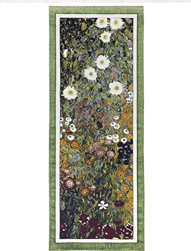 Flower Garden by Gustav Klimt | Woven Tapestry Wall Art Hanging | Multi-Color Floral Ensemble | 100% Cotton USA Size 52x20 (Gustav Klimt Garden)