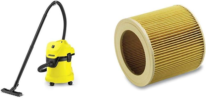 Aspirador en seco y h/úmedo K/ärcher 1.629-801.0 1000 W K/ärcher Filtro de cartucho WD2-WD3
