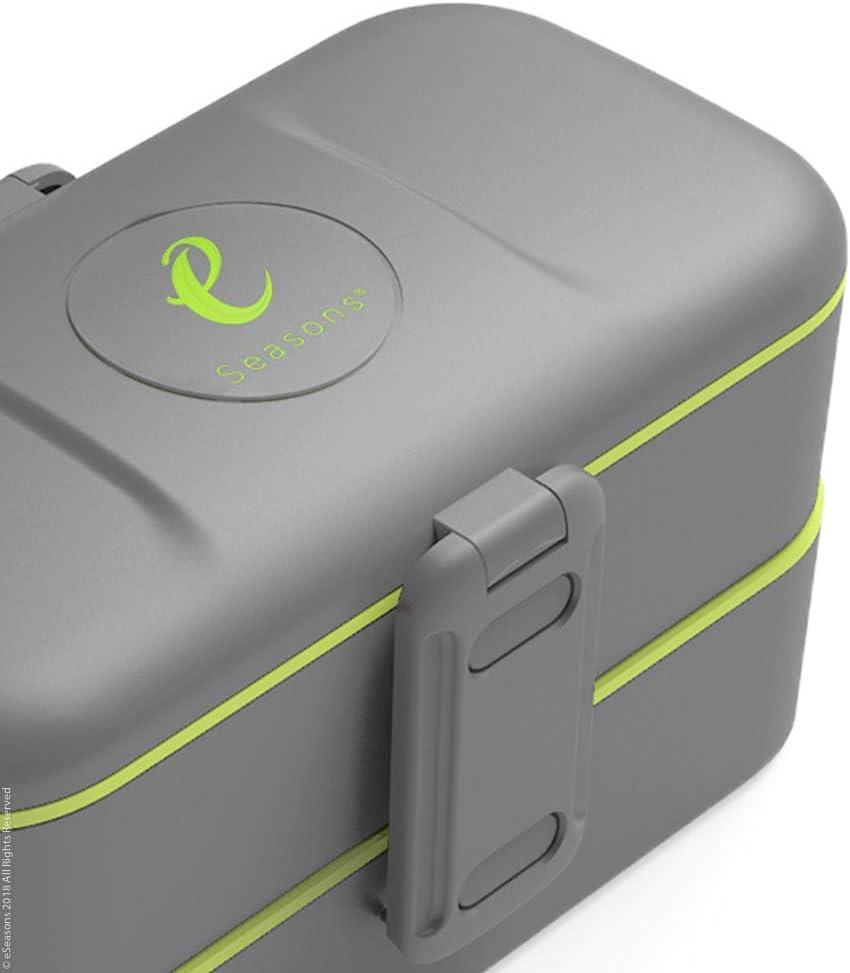 eSeasons Bento Lunch-Box Cuberter/ía de acero inoxidable 2 niveles y 4 compartimentos color gris oscuro