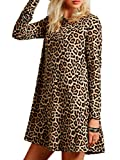 Joeoy Women's Casual Leopard Print Long Sleeve Dress-XL