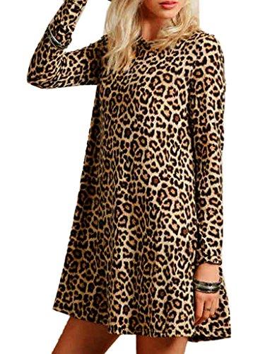 Joeoy Women's Casual Leopard Print Long Sleeve Dress-L