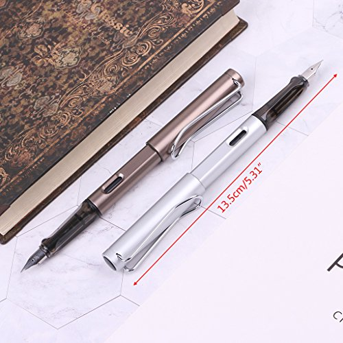 UJuly Fountain Pens Fine Nib 0.38mm Quality Durable Fountain Pen Fine Nib Refillable for Men Students Stationery (Pink) by UJuly (Image #3)