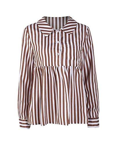 Camicie da Donna Casual Camicetta Tunica Top Maglietta A Maniche Lunghe T-Shirt Cachi