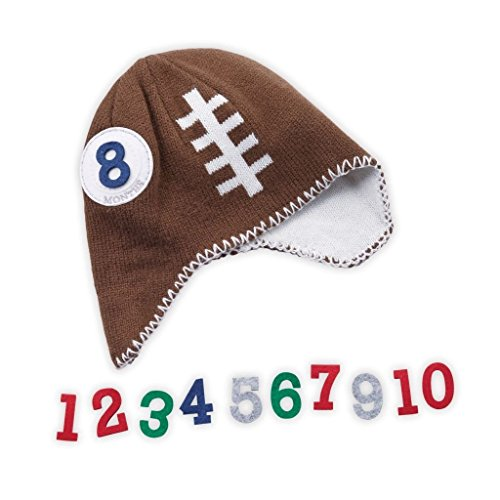 Mud Pie Newborn Baby Boy Milestone Football Knit Hat Photo Set
