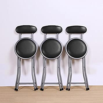 Chinkyboo Black Round Padded Folding Chair Portable Foldable Bar Stool With  Backs Kitchen Home Furniture