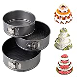 iPstyle 3pcs Nonstick Springform Pan Cheesecake Pan Leakproof Cake Pan Bakeware Loose Base Cake Baking Tin Interlocking Bakeware (3pcs -7''/8''/9'' inch(Round))