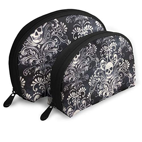 Pouch Zipper Toiletry Organizer Travel Makeup Clutch Bag Gothic Skull Damask Scary Halloween Portable Bags Clutch Pouch Storage Bags]()