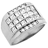 10k White Gold CZ Cluster Hip Hop Bling Large Mens Ring