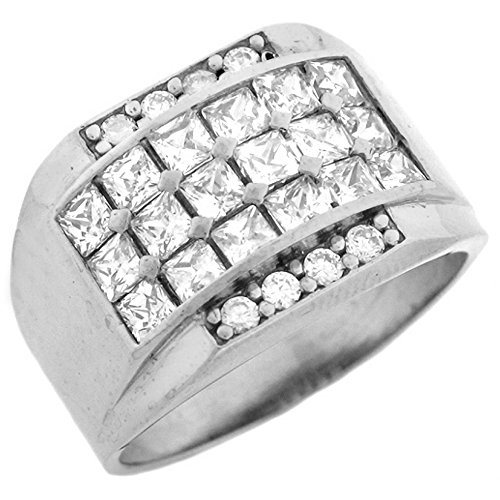 14k White Gold CZ Cluster Hip Hop Bling Large Mens Ring by Jewelry Liquidation