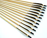 12 Shiny Black Handsome, Premium Wood Arrows with Turkey Feathers & Stainless Steel Field Points -- for Recurve, Compound, or Long Bow. 32 Inches.