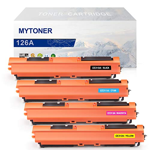 MYTONER Compatible Toner Cartridge Replacement for HP 126A CE310A CE311A CE312A CE313A (Black Cyan Magenta Yellow,4-Pack) for HP Color Laserjet Pro CP1025, CP1025nw,MFP M175nw, M275 (Hp Laserjet 126a)