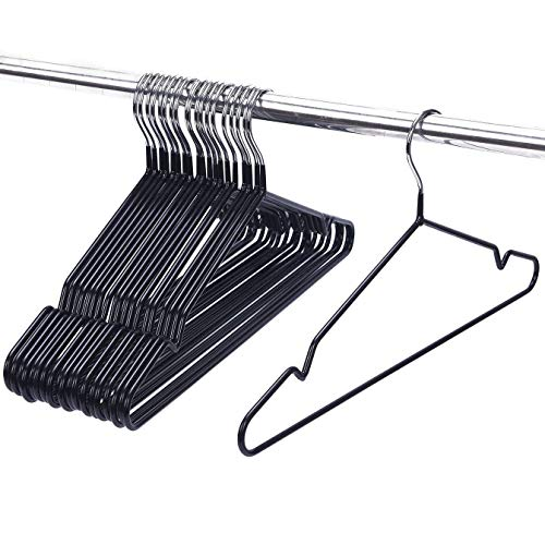 ASSICA Adult Metal Clothes Hangers Non-slip Wire Hangers With Plastic Coating for Suits Closet 20 Pack for Dry Pants/Coats Black 16 Inches Wide