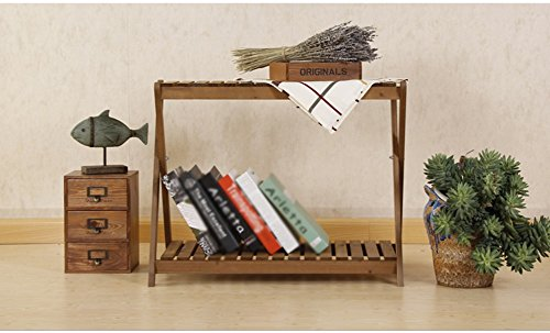CSQ Two Wooden Shelves, Simple Solid Wood Flower Stand Shelf Multifunction Succulent Plants Decoration Toy Books Bedroom Living Room Balcony Flower Shelf by Flowers and friends (Image #2)