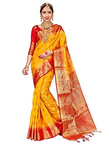 ELINA FASHION Sarees for Women Banarasi Art Silk Woven Work Saree l Indian Wedding Traditional Wear Sari and Blouse Piece (Yellow)