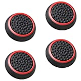 Fosmon Silicone Thumb Stick Analog Controller Grip Caps (4 Pack / 2 Pair) For Xbox 1, 1 S, 360, PS4, PS3, Nintendo Switch, Wii U, Wii (Black / Red)