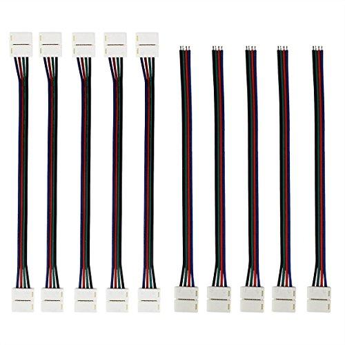 10 X Schnellverbinder Verbinder Adapter/ Deallink 4 Pin kabel Connector Set für LED SMD RGB 5050 Strip / 10mm Stecker weiss