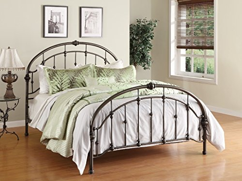 Dorel Living Queen Metal Bed, Antique Pewter ()