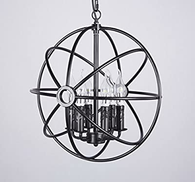 Diamond Life 6-Light Sphere Interlocking Rings Antique Black Finish Pendant Chandelier Hanging Ceiling Lamp Fixture