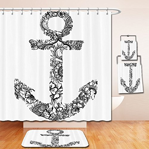 Full Cast Of Christmas Vacation - LiczHome Bath Suit: Showercurtain Bathrug Bathtowel Handtowel Anchor Home Decor Set Anchor Shape Flower Floral Ornamental Silhouette Vacation Old Times Happiness Accessories Black andhite For Bathroom