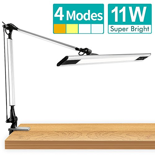 Amico 11W LED Architect Desk Lamp / Clamp Lamp/ Metal Swing Arm Task Lamp (Eye-Protective, Touch Control, 4-Level Dimmer / 4 Lighting Modes, Memory Function) Adjustable Drafting Work/Office (Art Warehouse Memory Art)