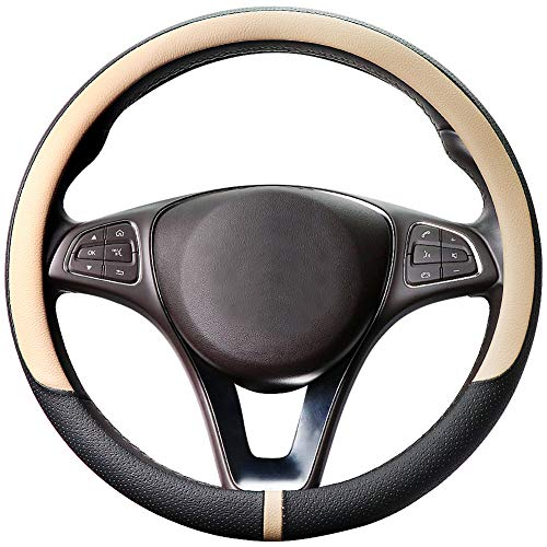 - COFIT Breathable and Non Slip Microfiber Leather Steering Wheel Cover Universal M 14 3/5-15 1/3 Inch - Beige and Black