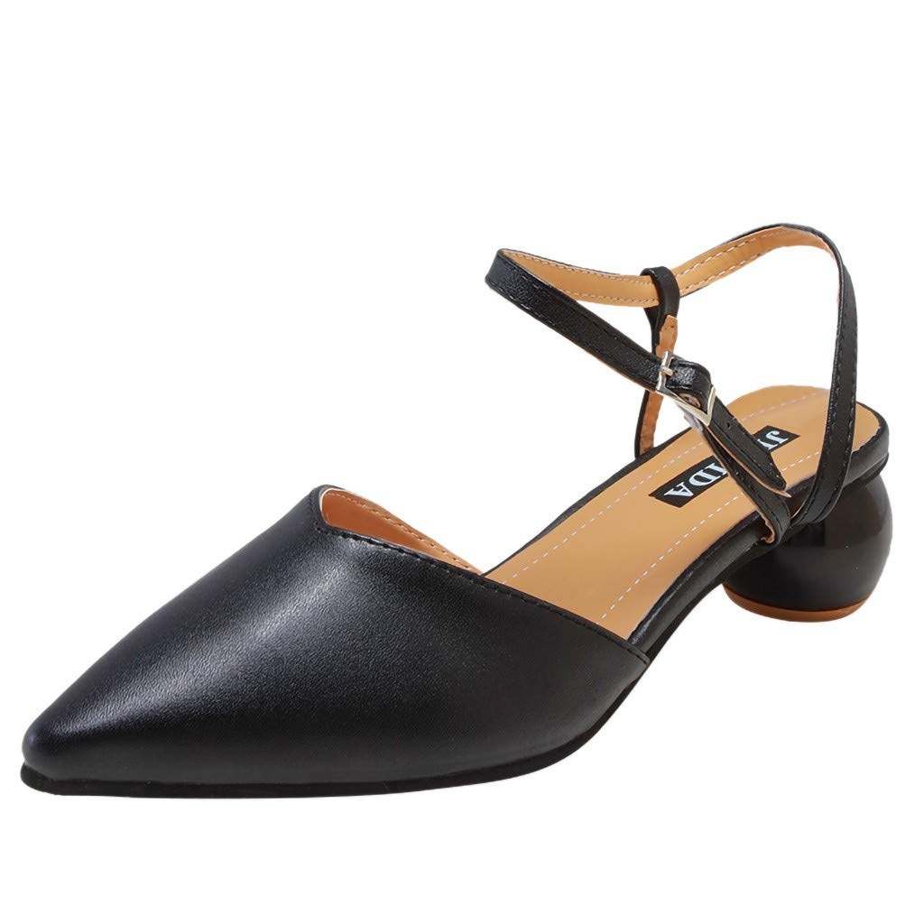 refulgence Women Casual Flat Shoes,Summer Roman Sandals Ankle Buckle Strap Closed Pointed Toe Sandals(Black,US=6.5)