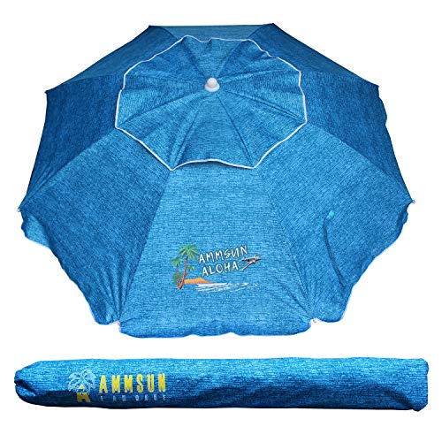AMMSUN Outdoor Patio Beach Umbrella Sun Shelter with Tilt and Carry Bag Solid Lake Blue
