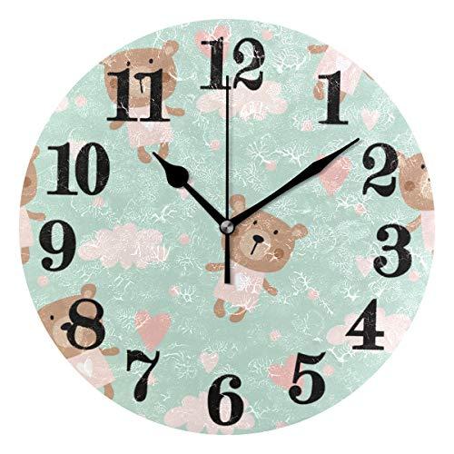 (Senuu Classic Heart Cute Teddy Bear Round Wall Clock Non Ticking Battery Operated Quartz Clocks Decor for Home Living Room Bedroom Office)