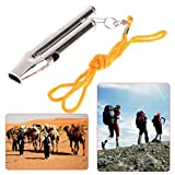 dual tone whistle - Cicitop Stainless Steel High Decibel Dual Tone Whistle with Nylon Rope, Good for Sports, Outdoor Activity, Camping, Emergency Survival.
