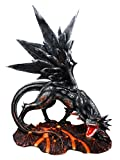 Atlantic Collectibles Large Fire Element Magma Volcano Lava Black Onyx Dragon Statue 16.5''H