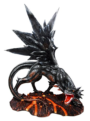 Atlantic Collectibles Large Fire Element Magma Volcano Lava Black Onyx Dragon Statue 16.5