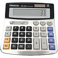 OFFIDIX Office Calculator Office Desktop Calculator, Solar and Battery Dual Power Electronic Calculator Portable 12 Digit Large LCD Display Calculator