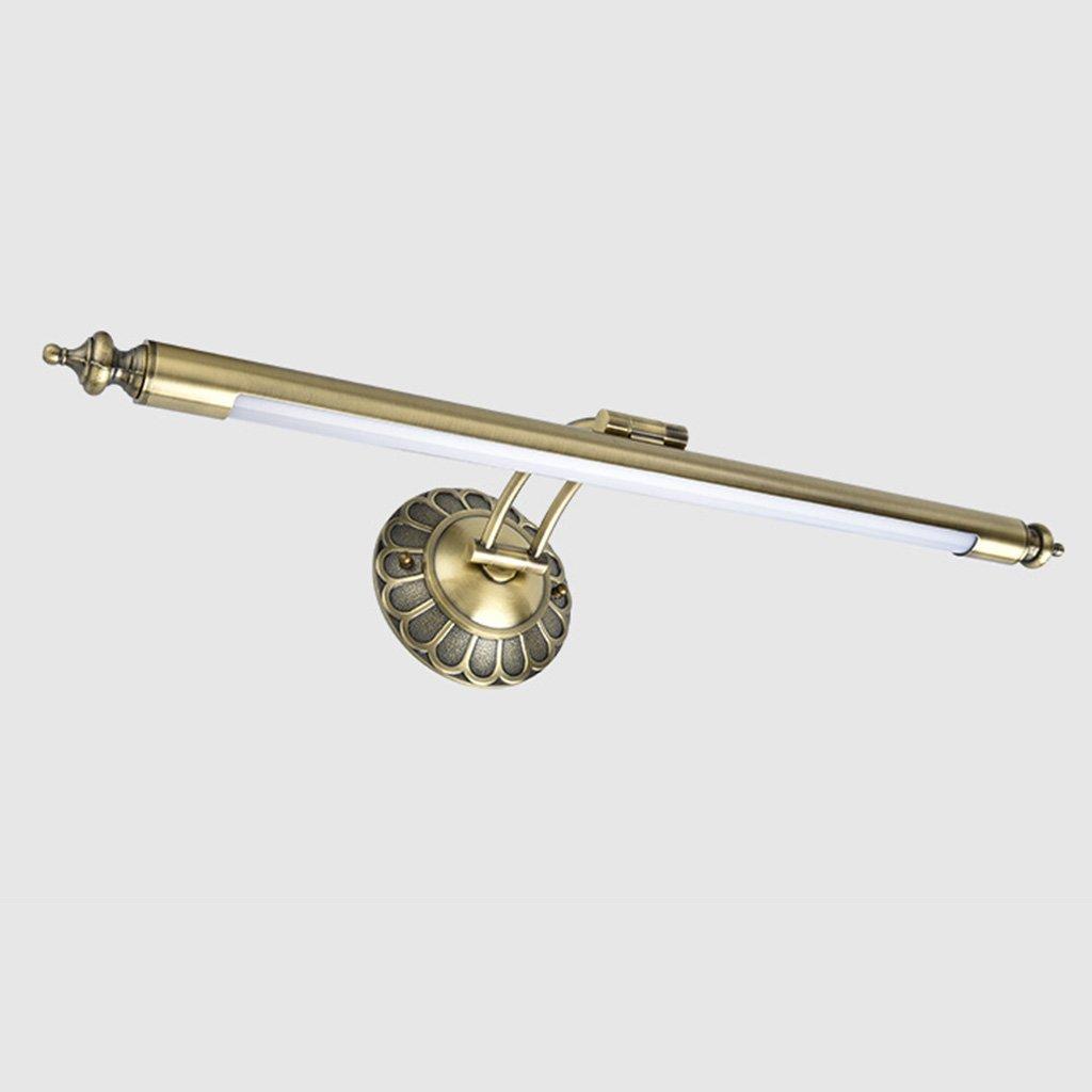 JJJJD Amerikanische Retro-Bad Make-up-Wand, LED SMD Licht Kommode Scheinwerfer verstellbare Design Bronze + Acryl (Durchmesser 58 (22.9in)  Breite 23 (9in) cm) (Farbe   Messing-58cm)