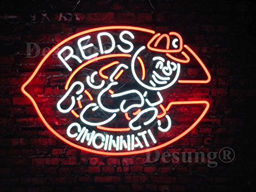 "Desung New 24""x20"" Cincinnati Sports Team Red Neon Sign Man Cave Bar Pub Beer Neon Lamp Real Glass Neon Light DX09"